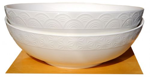 White Wave & Star Textured Ramen Bowls 23.2cm x2